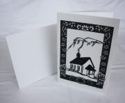 Scherenschnitt Karte: Kapelle mit Niederbauen und Alpenblumen