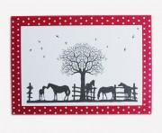Scherenschnitt Postkarte, Pferde 1