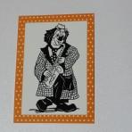 Scherenschnitt Postkarte, Saxophonist Orange
