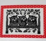 Scherenschnitt Postkarte 3 Eulen Rot-Weiss