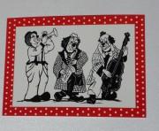 Scherenschnitt Postkarte 3Musikanten Rot-Weiss