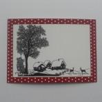 Scherenschnitt Postkarte Winterlandschaft mit Rehen