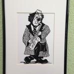 Scherenschnittbild Clown mit Saxophon